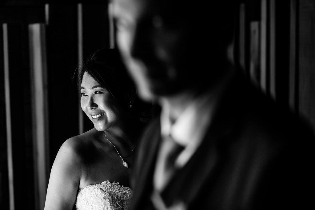 Retratos de pareja en restaurante mugaritz